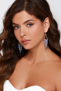 Hey Bar-Tender Gold and Periwinkle Earrings at Lulus.com!