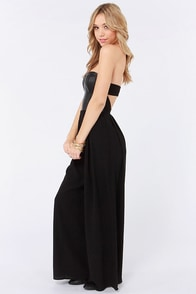 Easy Glider Strapless Black Jumpsuit at Lulus.com!