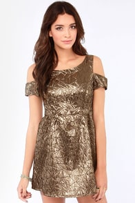 Ladakh Metropolis Off-the-Shoulder Metallic Bronze Dress