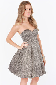 Ladakh The Eclipse Ivory and Black Strapless Brocade Dress at Lulus.com!