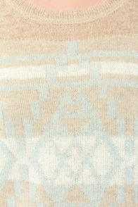 Commit to Knit Light Blue and Beige Sweater at Lulus.com!
