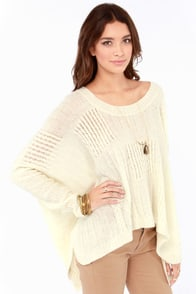 Wide Awake Oversized Cream Cable Sweater at Lulus.com!