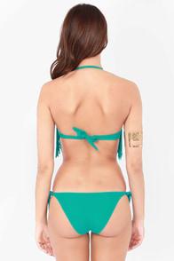 Beachy Keen Teal Fringe Bustier Bikini at Lulus.com!
