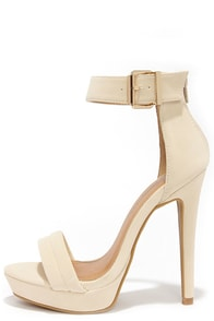 Sexy Suede-y Nude Ankle Strap Heels at Lulus.com!