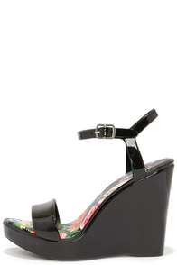 Candy Store Black Jelly Wedge Sandals at Lulus.com!