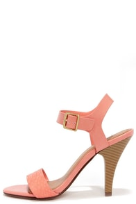 Strappy Occasion Salmon Pink Snakeskin Ankle Strap Heels at Lulus.com!