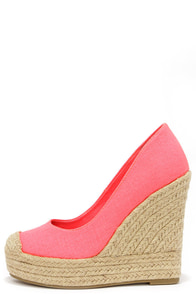 Bay Days Coral Neon Espadrille Platform Wedges at Lulus.com!