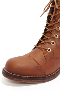 Steve Madden Jacksin Cognac Leather Lace-Up Boots at Lulus.com!