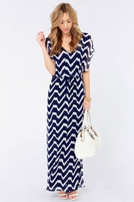 Lucy Love Villa Ivory and Navy Blue Print Maxi Dress at Lulus.com!