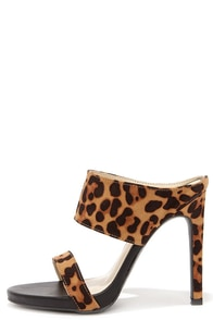 Fan of Glam Leopard Peep Toe Mules at Lulus.com!
