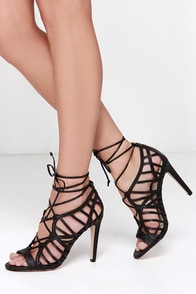 Dolce Vita Tessah Black Leather Lace-Up Heels at Lulus.com!