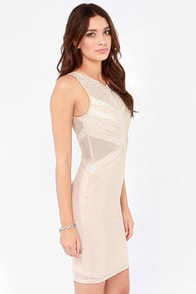 TFNC Hologram Light Beige Beaded Dress at Lulus.com!