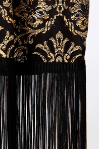 Strike Gold Black and Gold Kimono Top at Lulus.com!