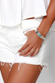 Bow and Arrow Silver and Turquoise Bracelet at Lulus.com!