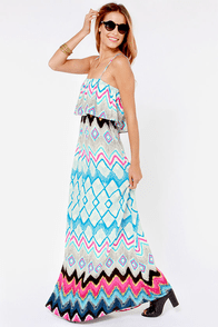 What a Day Blue Print Maxi Dress at Lulus.com!