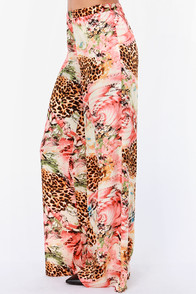 Party Animal Pink Print Wide-Leg Pants at Lulus.com!