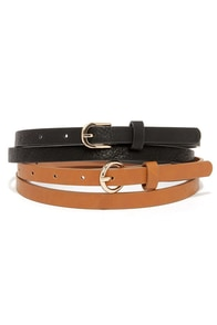 Set It Straight Black and Tan Belt Set at Lulus.com!
