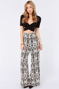 Leg Up Black and Cream Print Wide-Leg Pants