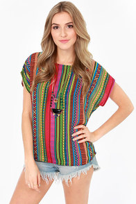 Golly Geometry Multicolor Print Top