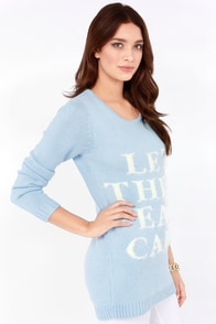 Mink Pink Marie Light Blue Sweater at Lulus.com!