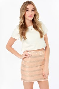 Mink Pink Eyes on the Prize Rose Gold and Blush Sequin Skirt