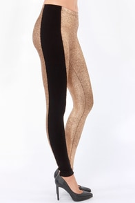 Mink Pink Tarantula Black and Rose Gold Leggings at Lulus.com!