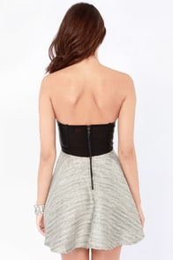 Mink Pink Silver Fox Black and Cream Strapless Dress at Lulus.com!