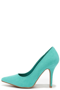 Wild Diva Lounge Lovisa 01 Turquoise Suede Pointed Pumps at Lulus.com!