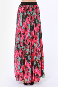 BB Dakota Lithia Pink Floral Print Maxi Skirt at Lulus.com!