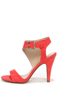 Sweep You Off Your Feet Rose Red Snakeskin Ankle Strap Heels at Lulus.com!