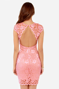 Rubber Ducky Your Lace or Mine? Pink Lace Dress at Lulus.com!