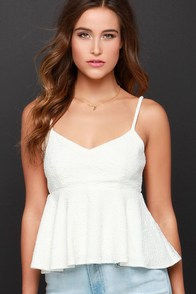 Changing of the Jacquard Ivory Peplum Top at Lulus.com!