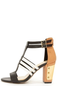 Jessica Simpson Jennisin Black, Natural, and White T-Strap Heels at Lulus.com!