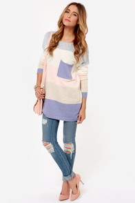 Hot Cocoa Peach and Purple Striped Sweater at Lulus.com!