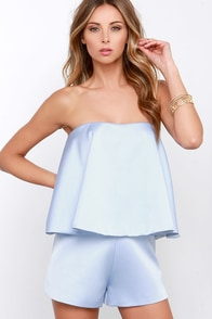 Keepsake Night After Night Light Blue Strapless Romper at Lulus.com!
