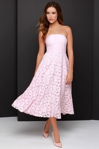 BB Dakota Alva Light Pink Strapless Lace Midi Dress at Lulus.com!