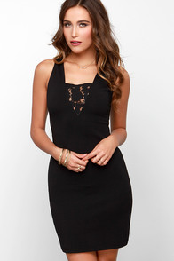 BB Dakota Simi Black Lace Dress at Lulus.com!