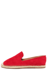 Flat-Out Adorable Red Espadrille Flats at Lulus.com!