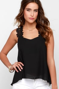 Wuthering Heights Black Lace Top at Lulus.com!