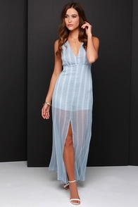 BB Dakota Faxon Ivory and Blue Striped Maxi Dress at Lulus.com!