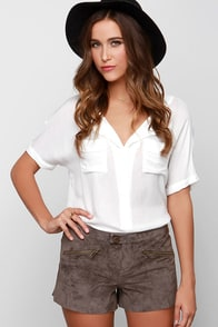 BB Dakota Flory Brown Suede Leather Shorts at Lulus.com!