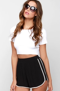Bonus Track Ivory and Black Shorts at Lulus.com!