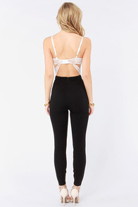 Lift the Veil Ivory and Black Lace Jumpsuit at Lulus.com!