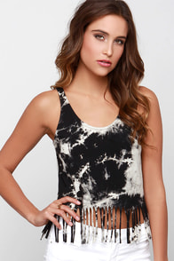 Glamorous Paint the Town Black Tie-Dye Crop Top at Lulus.com!