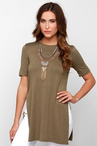 Glamorous Tunic of Time Olive Green Tunic Top at Lulus.com!