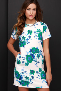 Bloom My Mind Cream Print Dress at Lulus.com!