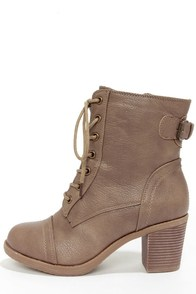 Wild Diva Lounge Essence 11 Taupe Lace-Up Combat Boots