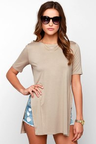 Glamorous Tunic of Time Dark Beige Tunic Top at Lulus.com!
