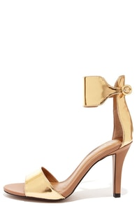 Report Signature Glimmer Bronze Ankle Strap Heels at Lulus.com!