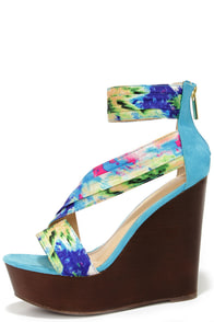 Aloha Blue Print Ankle Strap Wedges at Lulus.com!